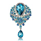 USIX Pack of 3 Drop Floriated Pendant Sparkling Rhinestone Crystal Brooch Pin for Dress, Suit, Sweater Embellishments, DIY Wedding Bouquet Cake Dress Corsage Boutonniere Decoration(7406-Aquax3)