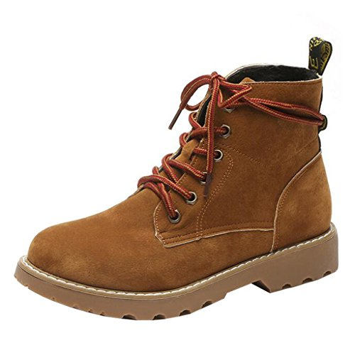 Binying Women's Round-Toe Flat Lace-up Martin Boots Brown 82C2A