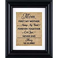 First my mother always my friend - personalised burlap print, Gift for mom, Personalised Mother's Day gift,Gift from kids(Frame and matte not Included)