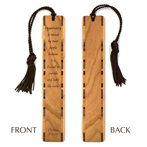 Opportunity Quote by Thomas Edison Engraved Wood Bookmark With Inlays and Tassel - Personalized version also available - search - Menlo Edison