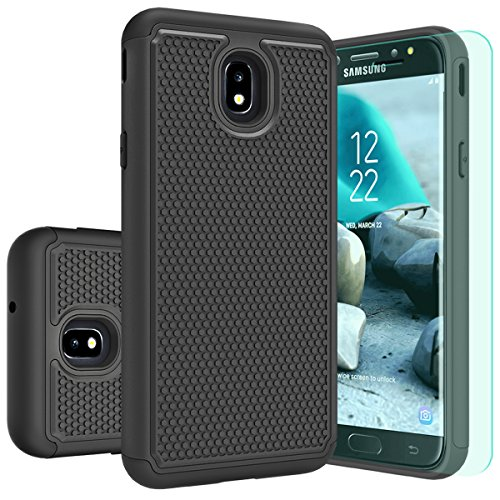 Galaxy J7 2018 Case,Galaxy J7 Aero/J7 Top/J7 Aura/J7 Crown/J7 Refine/J7 Eon Case with HD Screen Protector Huness Durable Armor and Resilient Shock Absorption Case Cover for Samsung J7 Star(Black)