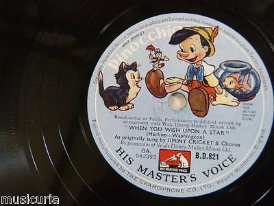 78rpm PINOCCHIO when you wish upon a star / give a little whistle BD.821 ()