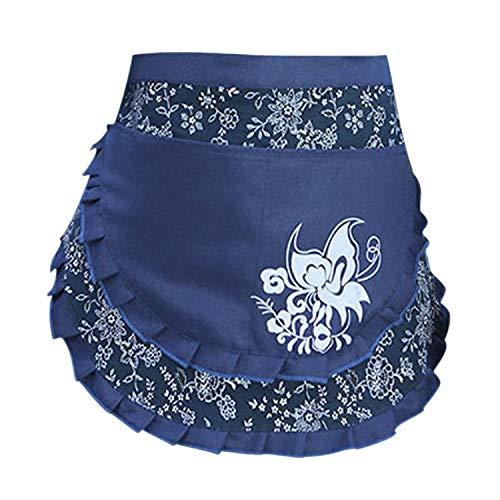 Love Potato Woman Vintage Floral Print Half Apron Creative Craft Apron Work Apron Waist Apron with 2 Pockets, Blue