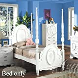 Twin Size Poster Bed with Flora Pattern White Finish