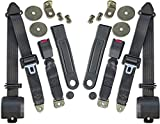 HFS Jeep Seat Belts - 3 Point Kit - Jeep CJ (5, 7 & 8) Black Webbing Housing