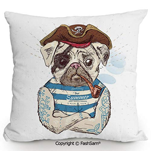 FashSam Home Super Soft Throw Pillow Pirate Pug Conqueror of The Seas Pipe Skulls and Bones Hat Striped Sleeveless T Shirt Decorative for Sofa Couch or Bed(20