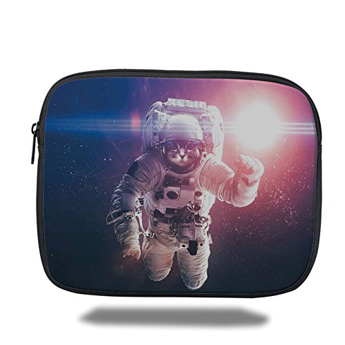 iPad Bag,Space Cat,Flying Cat Without Gravity with Clusters Planet Eclipse Image,White Purple and Dark Blue,3D Print