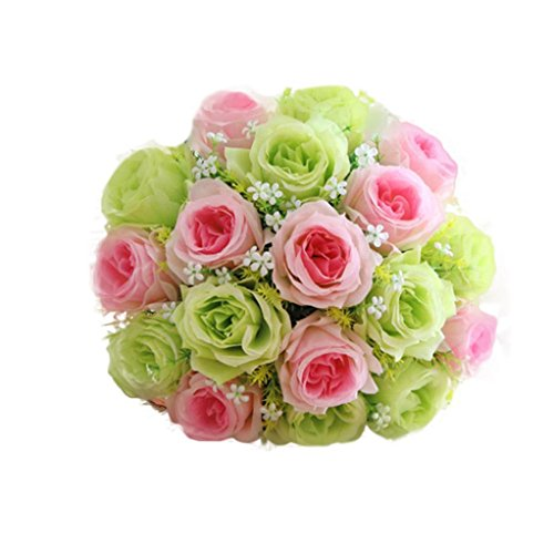 YLCOYO Flowers, 18 Head Artificial Silk Roses Flowers Bridal Bouquet Rose Home Wedding Decor (I) ()