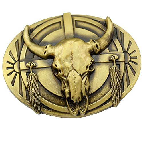Buffalo Buckle (Vintage Gold Plated Q&Q Fashion? Indian Western Vintage Native Feather Cow Bull OX Horn Buffalo Skull Belt)