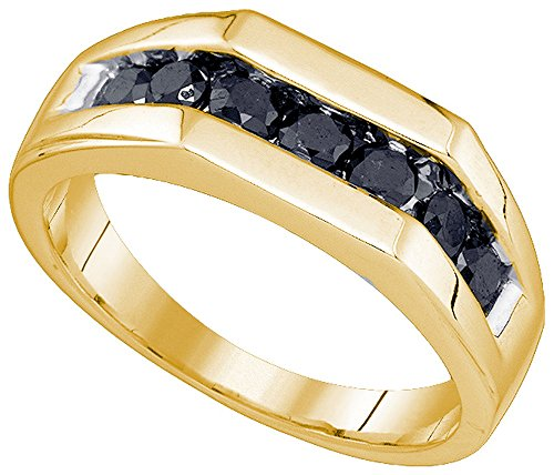 Black Diamond Gold Wedding Rings - Jewels By Lux 10kt Yellow Gold Mens Round Black Color Enhanced Diamond Wedding Band Ring 1.00 Cttw Ring Size 9.5
