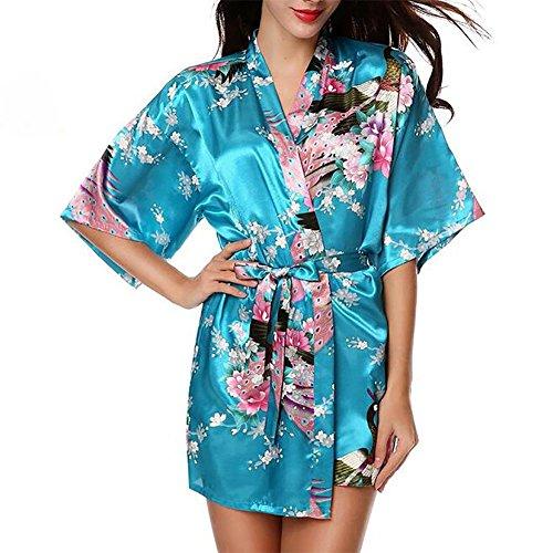 HXQ Albornoces de Mujer Bridesmaid Peacock Short Kimono Robe Satin Silk Pijamas , purple Blue