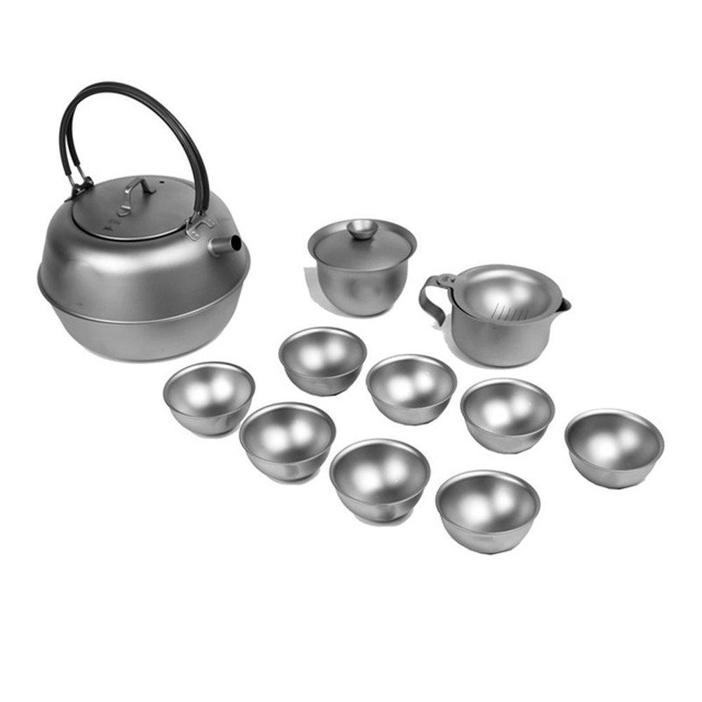 olSusチタンアウトドアキャンプお茶セット、utra-light Kung Fu Tea Kettleカップキット B07DLS4DPB