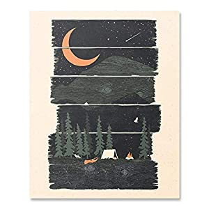 Wilderness Camping Lover Art Print Kayaking Under Crescent Moon Mountains Outdoor Landscape Nature Inspiration Wall Art Shooting Star Summer Night Sky Pine Tree Forest Tent Home Decor 8 x 10 Unframed