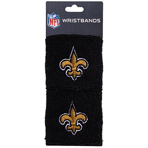 NFL New Orleans Saints Franklin Sports New Orleans Saints Embroidered Wristbandsnfl Embroidered Wristbands, Black, One Size New Orleans Saints Football Uniform