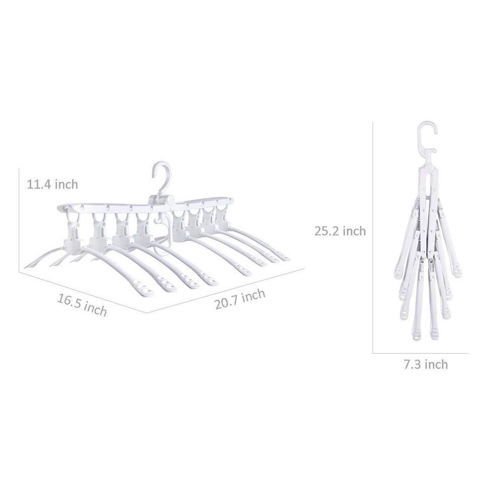 Rishx Percha plegable multifuncional 8 en 1 Perchero port/átil giratorio de 360 grados Estante organizador del estante Ahorro de espacio Organizador de la percha para la camiseta Su/éter Pantalones de