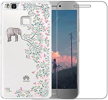 Funda Huawei P9 Lite [con Protector de Pantalla de Vidrio Temperado] Blossom01 Ultra Fina de Gel de Silicona TPU Carcasa Huawei P9 Lite (Flores de ...