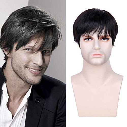 Queentas Short Mens Wig Human Hair with Bangs Straight Halloween Costume Wigs for Male Men (Natural Black #1B) -