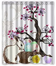 Standard-Store Custom Fashionable Design Happy Easter 14 Waterproof Fabric Polyester Shower Curtain