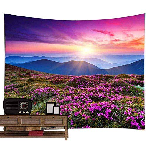 POPPAP Mountain Landscape Wall Tapestry, Sunrise Light Up The Colorful Clouds of The Sky, Top of Mountain is Fairyland, Nearby Green Lawn Purple Flowers Full of Fantasy Wall Hanging Blacket 79