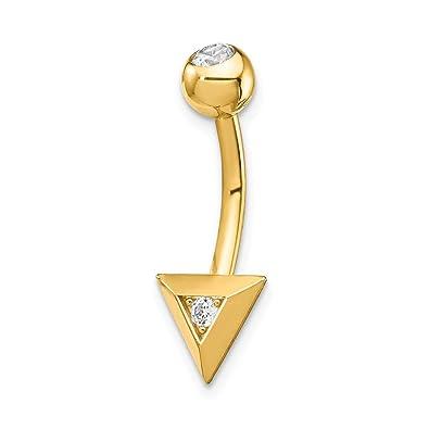 Amazon Com Mia Diamonds 14k Yellow Gold Triangle Cz Belly Button