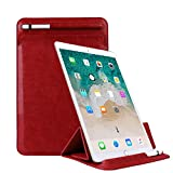 Businda iPad 9.7 inch 2018 2017 Case, Rotating Case Smart Cover with Stand Build-in Pencil Holder for iPad 5th Generation (A1822 A1823)/iPad 6th (A1893 A1954) for Kids Women and Man, Red