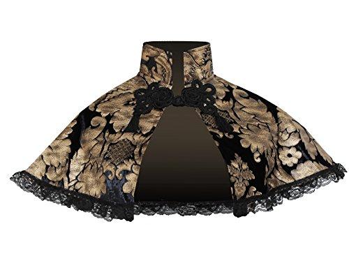 Victorian Gothic Renaissance Steampunk Mori Girl Velvet Capelet Collar Black -