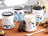 Satyam Kraft(1PIECE) panda Mug with ceramic lid and spoon -gift for diwali/gift for birthday/gift for sister/gift/Diwali gift idea/gift for friend/gift for love one/diwali gift (1 Pcs) Random Design - 400 ml