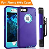iPhone 6 Case, FOGEEK Heavy Duty Protective Combo Defender 360 Degree Rotary Belt Clip & Kickstand Case Cover Compatible for iPhone 6/6S (NOT Plus) (Blue/Purple)