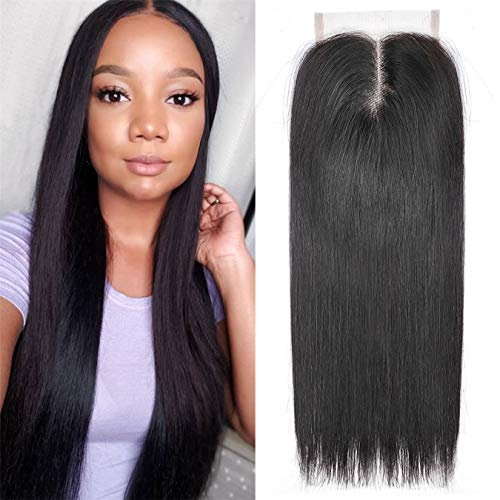 Ayana Brazilian Virgin Hair Straight Middle Part 4X4 Lace Closure Double Lace Net Human Hair Closure (12straight)