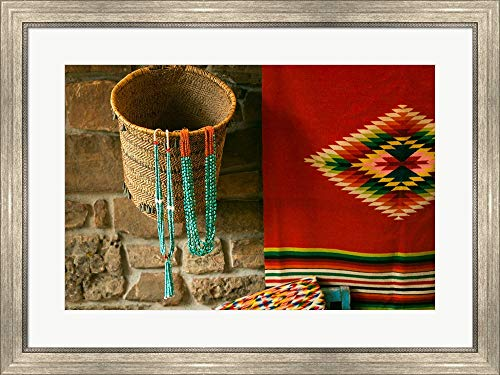 Santa Fe Turquoise Necklaces, New Mexico by Julien McRoberts/Danita Delimont Framed Art Print Wall Picture, Silver Scoop Frame, 32 x 24 inches ()