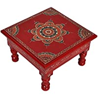 Indian Bajot Wooden Footstool Christmas Gift Red Color 9 X 9 X 5.5 Inches