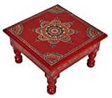 Lalhaveli Indian Bajot Wooden Footstool Red Color 9 X 9 X 5.5 Inches