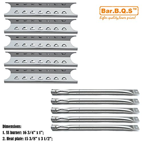 Bar.b.q.s Replacement Master Forge 5 Burner Gas Grill L3218, 3218LTN Grill Burner, Heat Plate (5Pack SS Burner + 5Pack SS Heat Plate )