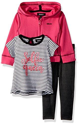 DKNY Baby Girls 3 Piece Selfie Queen T-Shirt, Hoodie, and Pant Set, Magenta, 24M -