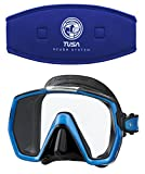 Tusa M1001 Freedom HD Silicone Diving Mask - Cobalt Blue w/ TUSA Mask Strap Cover
