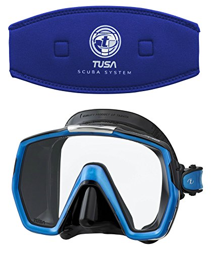 Tusa M1001 Freedom HD Silicone Diving Mask - Cobalt Blue w/ TUSA Mask Strap Cover by Tusa