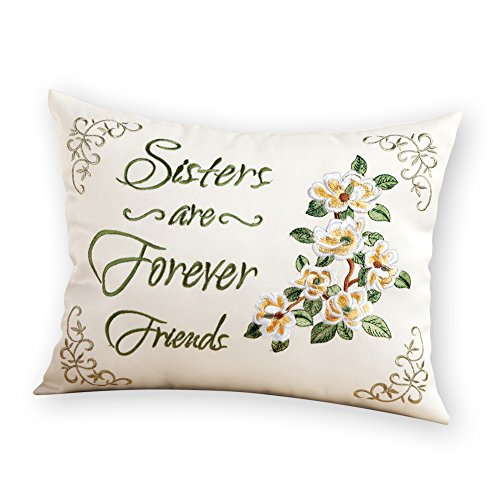 Throw Sister Pillow (Collections Etc Sisters are Forever Friends Sentiment Floral Accent Pillow)