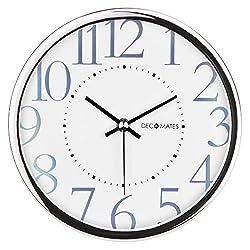 DecoMates Non-Ticking Silent Wall Clock, Metallic Shimmer, White