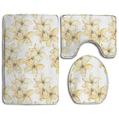 Tidal Current Painting Peach Tropical Buds Soft Toilet Carpet Three Pieces,Non Slip Bathroom Rugs,Toilet Lid Cover,U-Shaped Toilet (Current Tropical Rug)