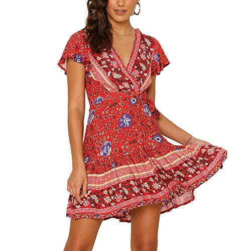 Mock Sleeve Dress - Exlura Women's Summer Mock Wrap V Neck Bohemian Floral Printed Split A Line Ruffle Hem Beach Mini Dress with Belt Plus Size Red
