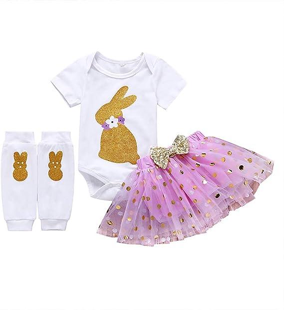 AMILIEe Infant Toddler Baby Girls Easter Day Suspender Skirt Set Short Sleeve T-Shirt Tops Bunny Overall Skirt
