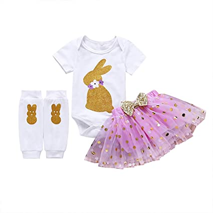 67a944655423 Baby Girls 3PCs Sets - Toddler Easter Cartoon Bunny Romper +Tutu Dresses  +Leggings Bodysuit