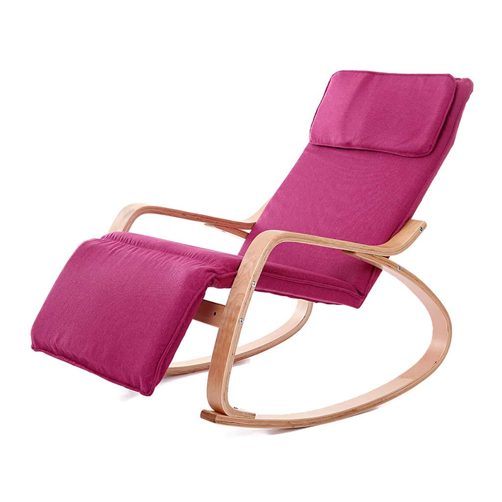 Wooden Rocking Chair Relax Lounge Chair Recliner with Detachable Pillow,Polyester Fabric Seat,Curved Frame,5 Gears Height Adjustable by WY rocking chair