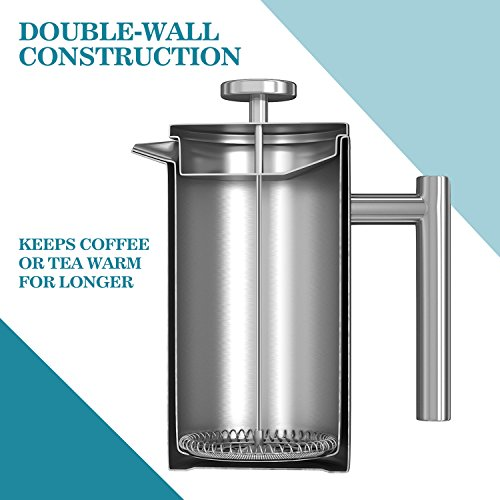 AMOVEE French Press Coffee Maker Tea Maker, 304 Stainless Steel Double Insulation, with Espresso Spoon and Bonus Screen (350ML, 12 oz) by AmoVee (Image #4)