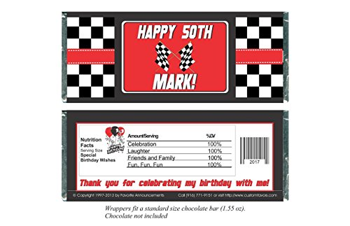 Race Car Birthday Party Favors, Personalized Wrappers for Chocolate Bars (set of (Custom Chocolate Bar Wrappers)