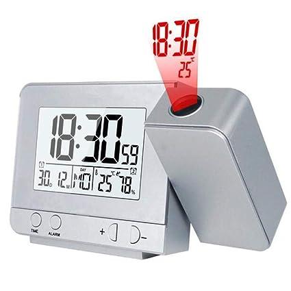Proyección Reloj Despertador Fecha Digital Snooze Función Retroiluminación Proyector Mesa De Escritorio LED Reloj con Proyección