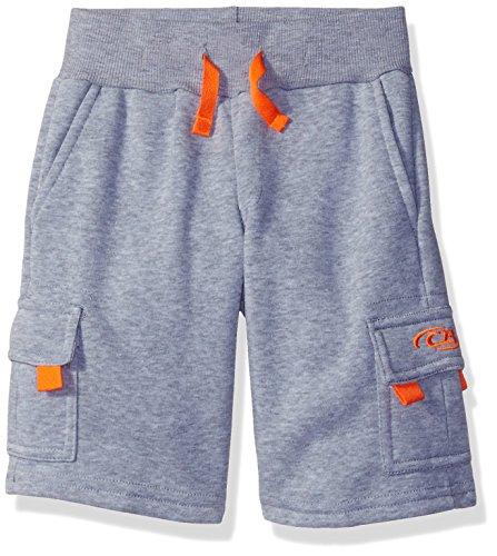 CB Sports Big Boys' Athletic Fleece Short, TQ02-Heather Grey/Orange, 14/16