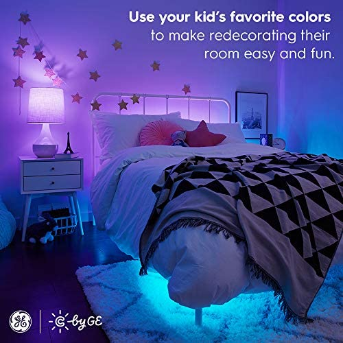 C by way of GE A19 Smart LED Bulbs - Full Color Changing Light Bulbs with App Control, 2-Pack, Smart Light Bulb Works with Alexa and Google Home, Color Light Bulbs for Bedroom, Bluetooth Light Bulbs
