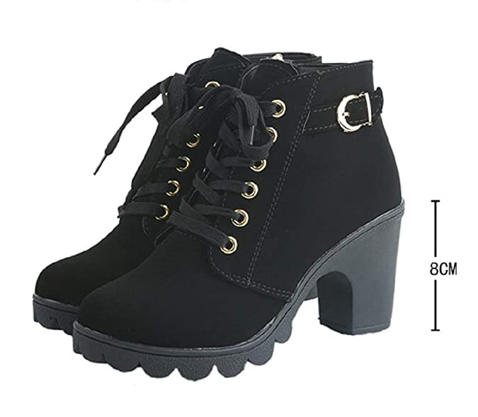 Amazon.com | JOYTO Women Boots with High Chunky Heel with Fur Suede Platform Ankle Booties Lace Up Zip 8 cm Buckle Winter Warm Comfortable Outdoor Black ...