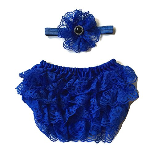 Rush Dance Lace Ribbon Baby Ruffle Bloomers Diaper Covers & Headband (Small (0-6M), Royal Blue)